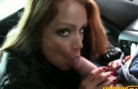 Hot brunette fucked in taxi