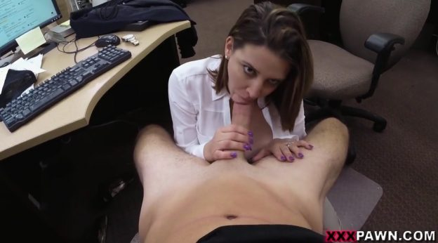 Brunette Takes Big Dick Into Her Small Mouth.