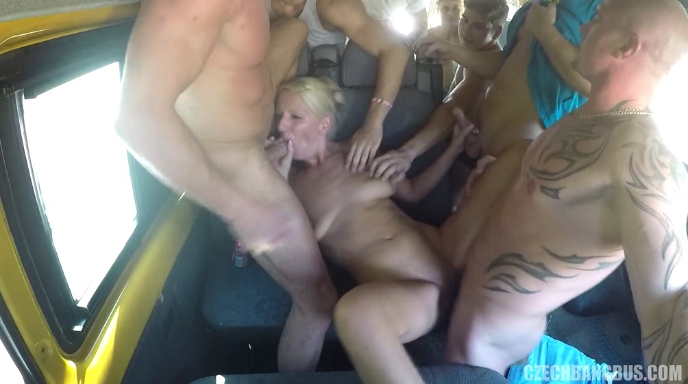 Blonde Milf Gangbanged In Yelow Bus.