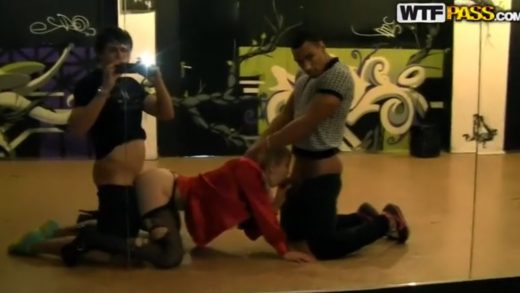 Threesome Sex On The Stage.