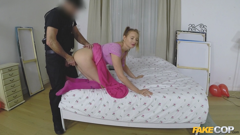 Shy Lady Has Sex With Fake Cop.