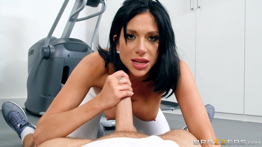 Brunette Milf Rides Trainers Cock.