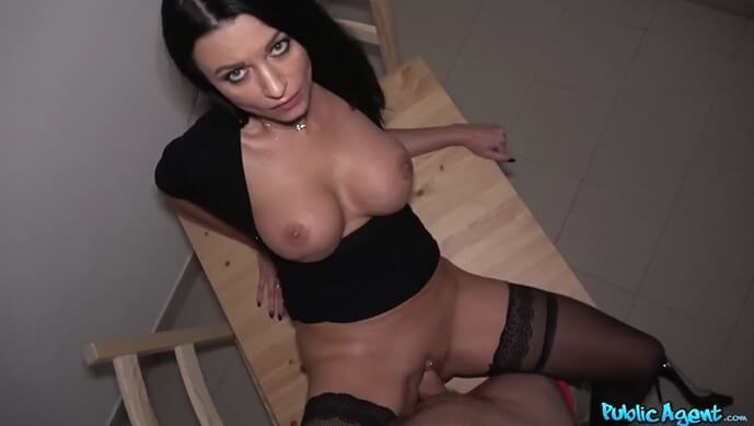 PublicAgent Fucks Hot Milf On Stairs.