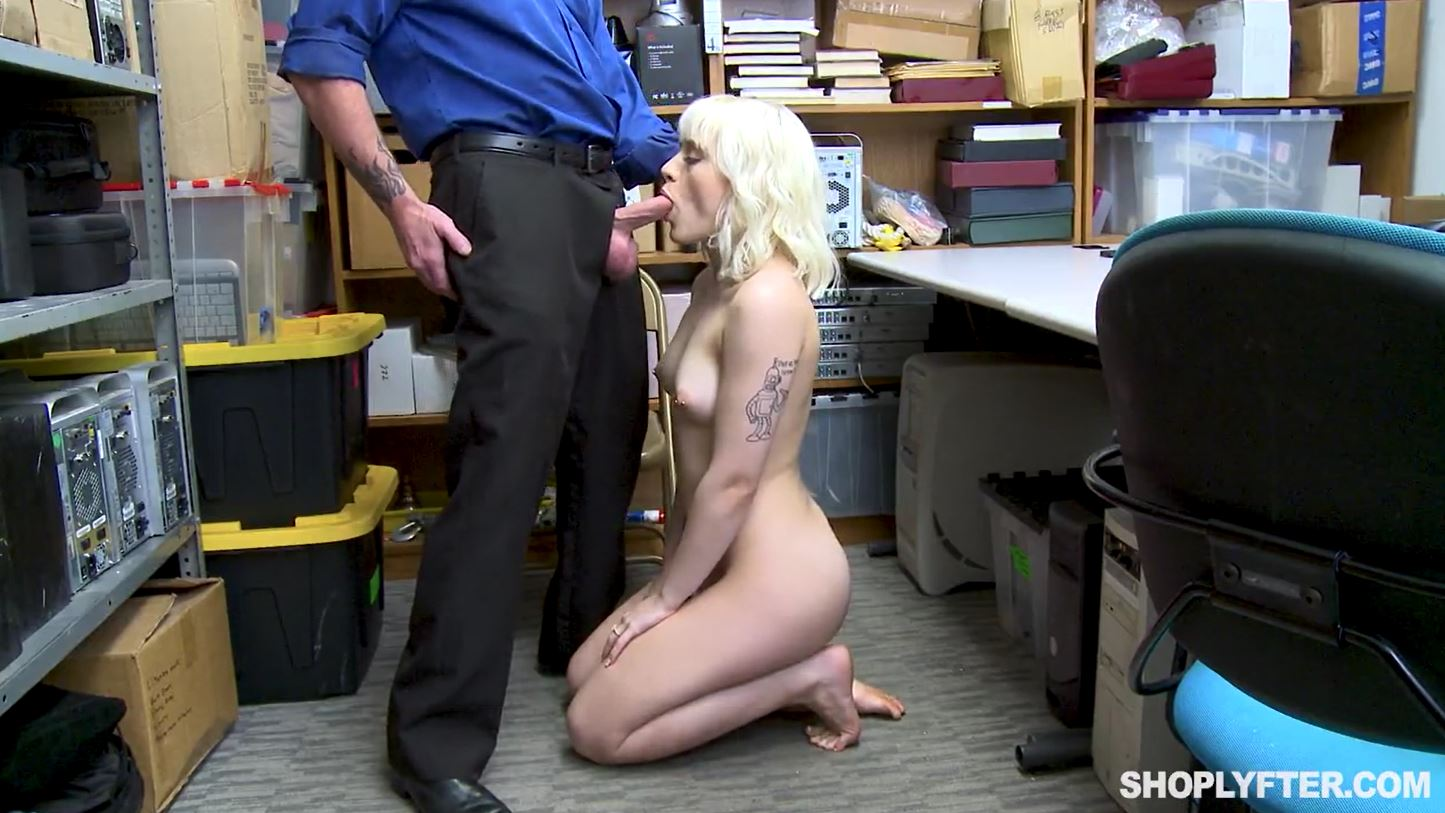 Blackmailed Shoplyfter Sucking Cock In Office.