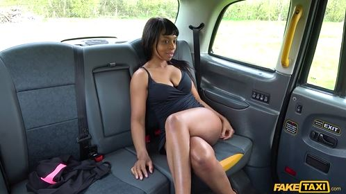 Cute Ebony Gets Pussy Licking By Fake Taxi Driver.
